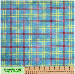 Maywood Studio He Loves Me Blue Plaid Cotton Fabric