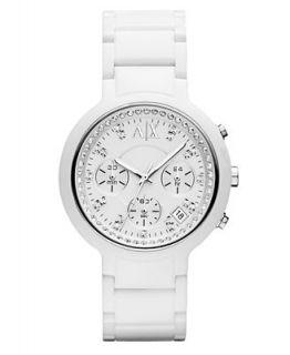 Armani Exchange Watch, Womens White Nylon Plastic Bracelet 40mm
