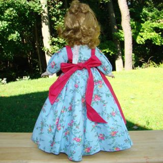 C1950 Little Women Meg Doll Madame Alexander Blue Print Dress Margaret