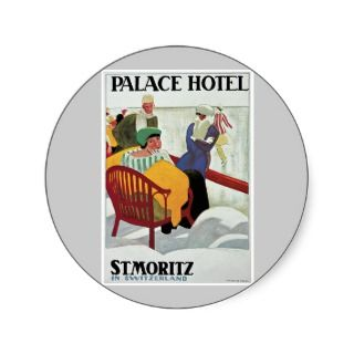 Vintage St.Moritz Switzerland Travel Poster Art Sticker
