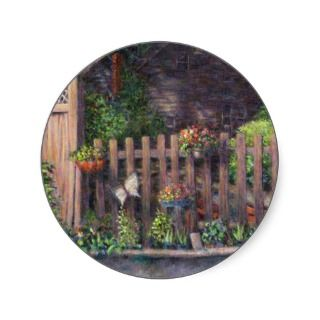 Flower Pots Hanging on a Fence Sticker