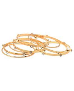 GUESS Bracelet Set, Set of 9 Gold Tone Glass Stone Bangle Bracelets