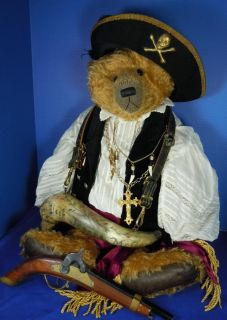 27 Teddy Bear Karen Meer Black Jacque McCaw Antique Style Pirate
