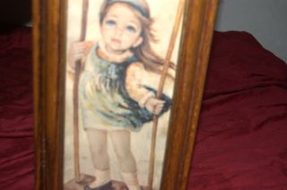 Medeiros Artist Girl Big Eyed Art Portrait No Glass L 18 x w 9