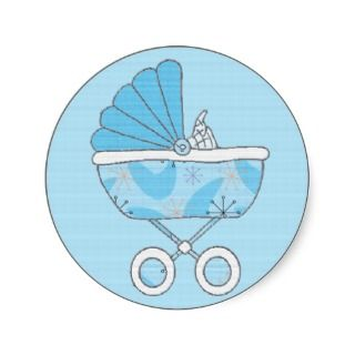 Blue Baby Carriage Sticker