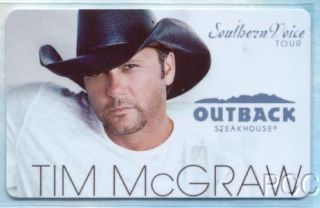 Outback Steakhouse Tim McGraw 2010 Gift Card