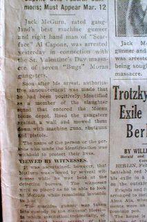 BEST1929 Chicago HDLN Newspaperjack Mcgurn Arrested 4 St Valentines