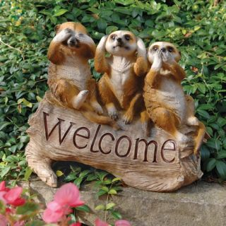 Meerkat Welcome Three Truths of Man See Hear Speak No Evil Garden Lawn