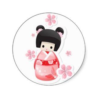 Japanese Geisha Doll   buns series Stickers