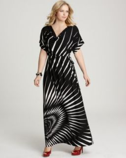 Melissa Masse New Black White Matte Jersey Printed Tie Waist Maxi