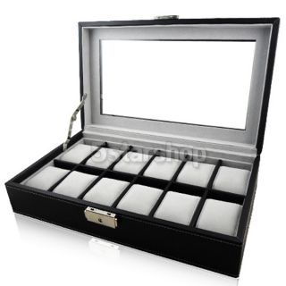 Leather Mens Watch Box Display Case Organizer Glass Top Jewelry
