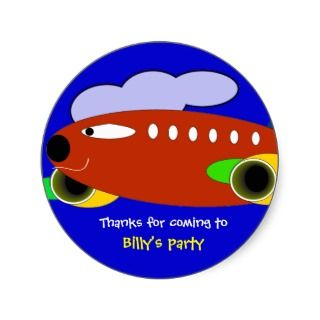 Kids birthday Thank You Stickers Air Craft