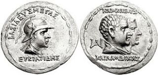 Eucratides I Megas Silver Tetradrachm Hellenistic Period RARE Coin