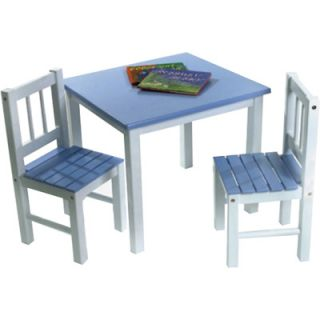 New Sale Lipper Childrens Blue White Wood Table w 2 Chairs Furniture