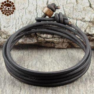 Mens Leather Cord Bracelet Brown Multi Wrap Surfer Sol