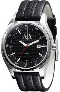 Armani Exchange Black Leather Band Men Watch AX1055 New