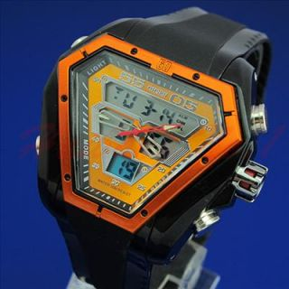 Personalized Dual Time Digital Chrono Mens Big Face Sport Watch