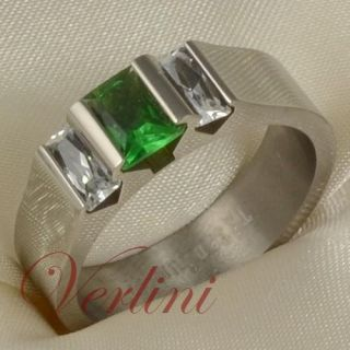25 Ct Emerald Cut Titanium Hot Ring Green Emerald & White Diamond