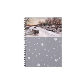 Vintage Winter Scene. Christmas Gift Notebook