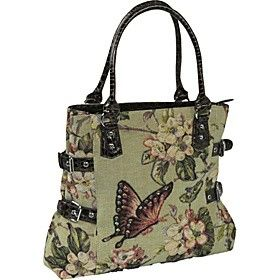 Mellow World Butterfly Green Fabric Handbag Purse Handmade HB1135