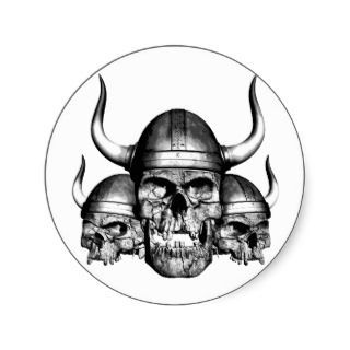 Viking Skulls Round Stickers
