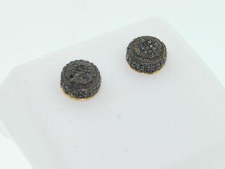 Mens 10K Yellow Gold 0 35ct Black Diamond Earrings Stud