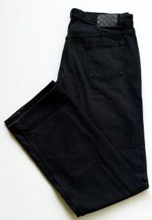 Authentic New Mens Black Pants Jeans size 54   38 Made in Italy Loose