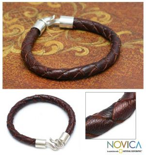 Earth Elements Mens Brown Leather Silver Bracelet