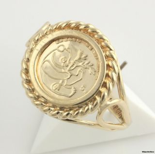 Chinese Panda Coin Copy Ring   10k Yellow Gold Womens Fashion Estate