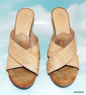 Michael Kors Tooled Leather Mule Sandals Mexican Tourist Sz 7 5