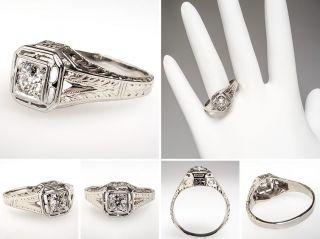 Mens Antique Wedding Band Diamond Ring Solid 18K White Gold Fine