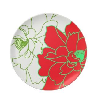 Cute Red White Retro Floral Party Plates