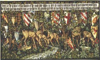 Medieval Knight Tapestry Verdure with Shields Deer