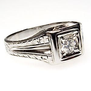 Vintage Mens Diamond Wedding Ring Solid 18K White Gold Estate 1950s