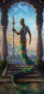 Temple Snake Naga Serpent Warrior Merman Fantasy Art Giclee