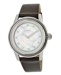 Breil Watch, Womens Black Lizard Embossed Leather Bracelet TW1009