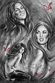 Megan Fox Sexy Signed Art Painting Paper 24X36