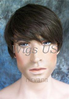 Larger Fit Mens Wigs Chestnut Brown Lights Short Style Wig