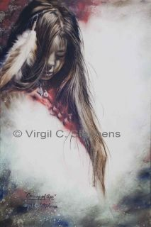 NATIVE AMERICAN ART, APACHE INDIAN GIRL, LIMITED EDITION PRINT SOUTH