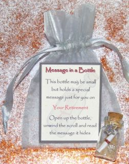 Personalised Retirement Message in Bottle Gift Present