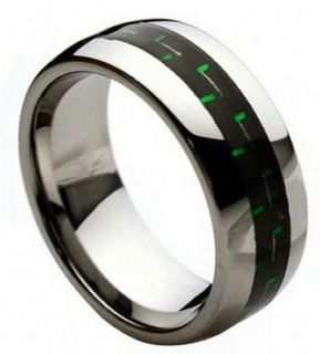 8mm Tungsten Ring Men Women Wedding Band w/ Black & Green Carbon Fiber