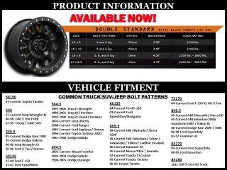 Method MR304 Double Standard 17x8 5 Black Wheels 5x5 Jeep JK Old GM