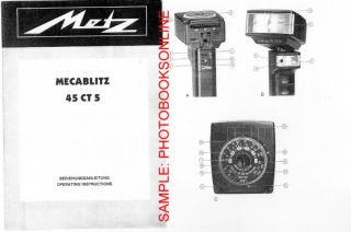 Metz Mecablitz 45 Ct 5 45 CT5 Instruction Manual