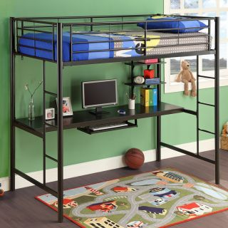 New Metal Bed Frames Twin Over Twin Double Loft Workstation Desk Futon