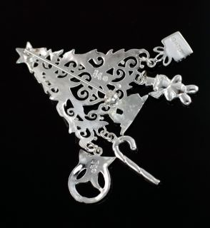Sterling Sterling Christmas Tree Pin Dangling Charms 2 5 Designer