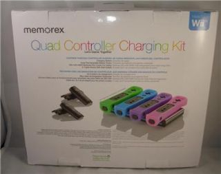 New Black Memorex Quad Controller Charging Kit for Wii 4 Rechargeable