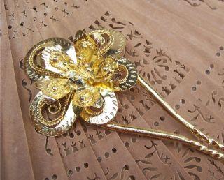 Vintage Gold Tone Metal Flower Hair Comb Peineta