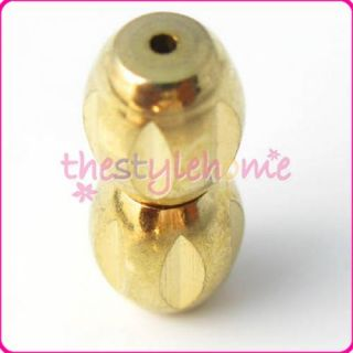 20pc 12 x 5mm Gold Tone Metal Screw 2 Barrel Shape Clasp for Necklace