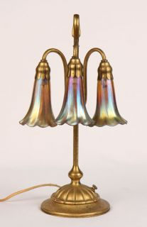 Antique Tiffany Table 3 Light Lily Lamp Gold Dore LCT Favrille Shades