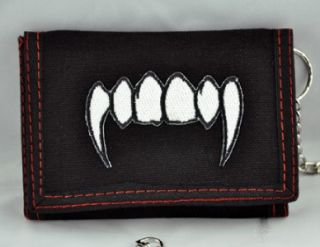 Vampire Fang Wallet Trifold Goth Blood Horror Death Roc